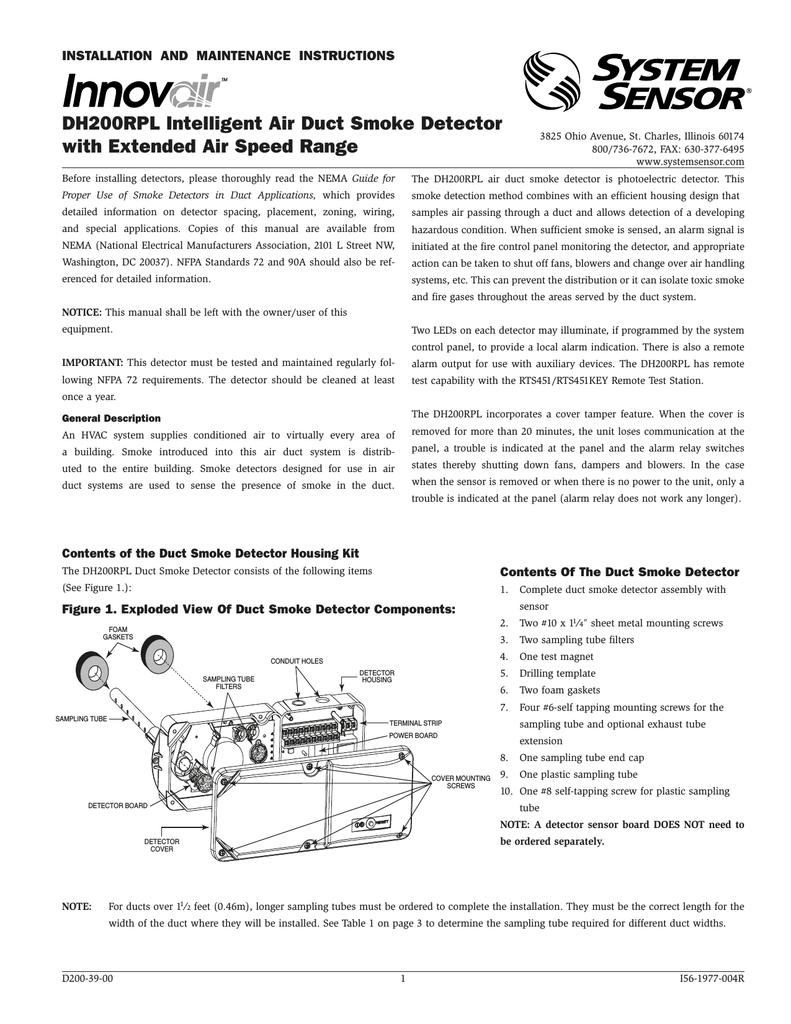 System Sensor Dh200rpl Smoke Alarm User Manual Manualzz