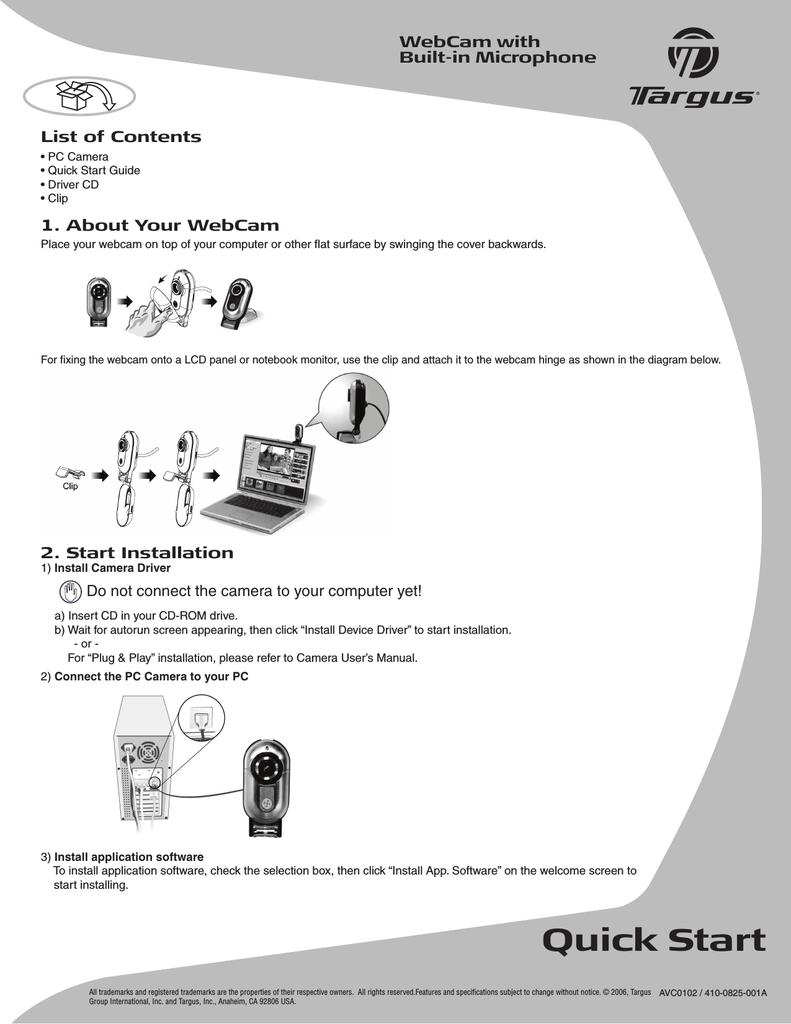 Targus AVC0102 Webcam User Manual | manualzz com