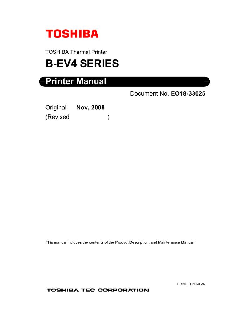 Toshiba B-EV4 Printer User Manual | manualzz com