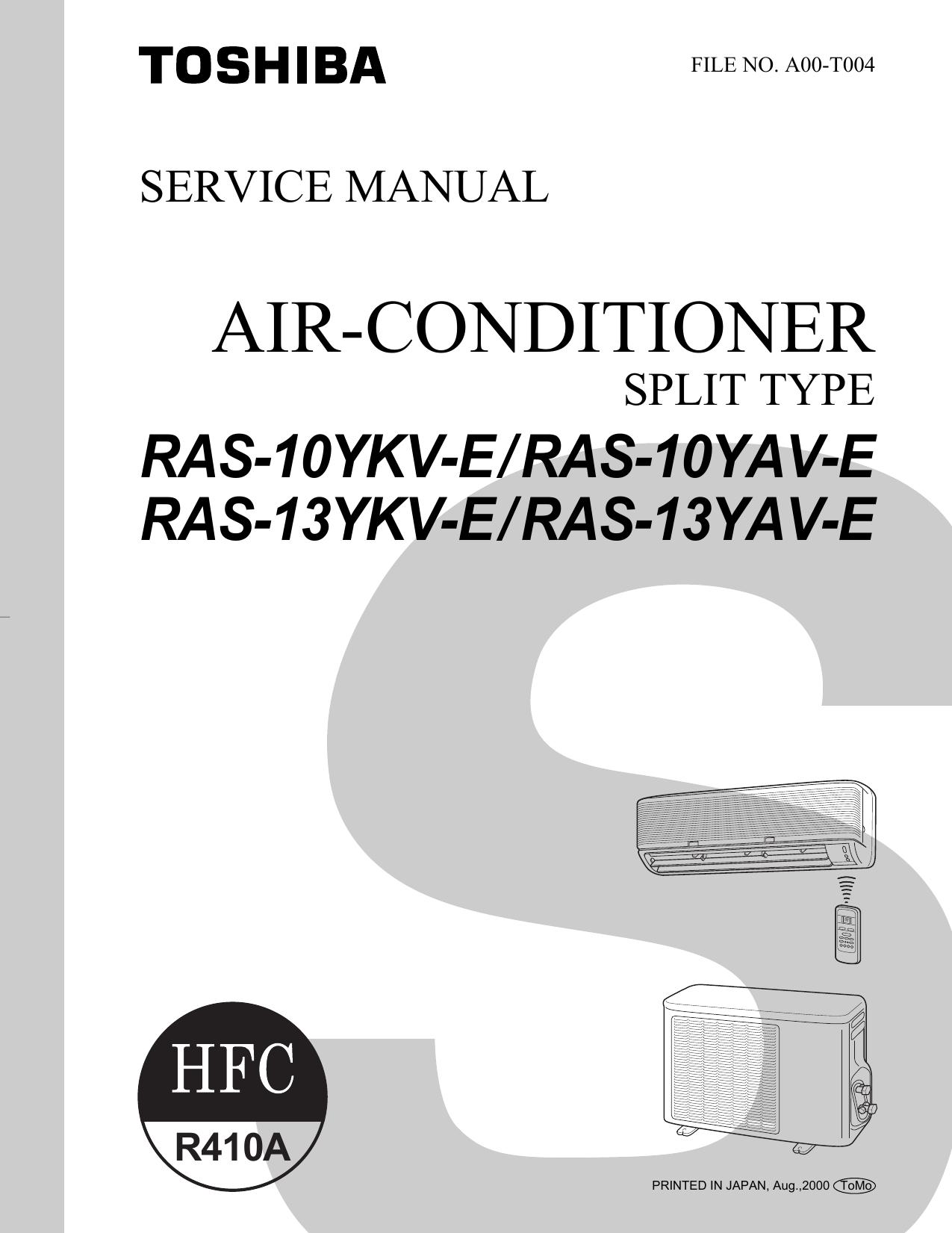 Toshiba RAS-10YAV-E Air Conditioner User Manual | manualzz.com