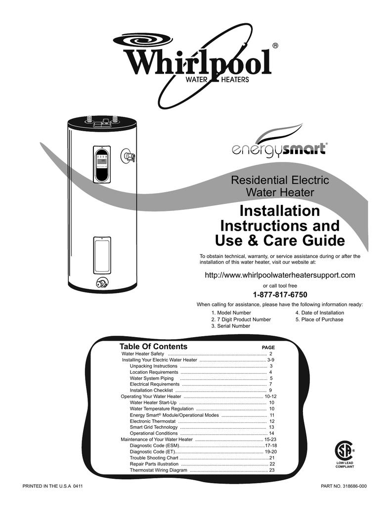 Whirlpool 318686 000 Water Heater User Manual Residential Wiring Diagram
