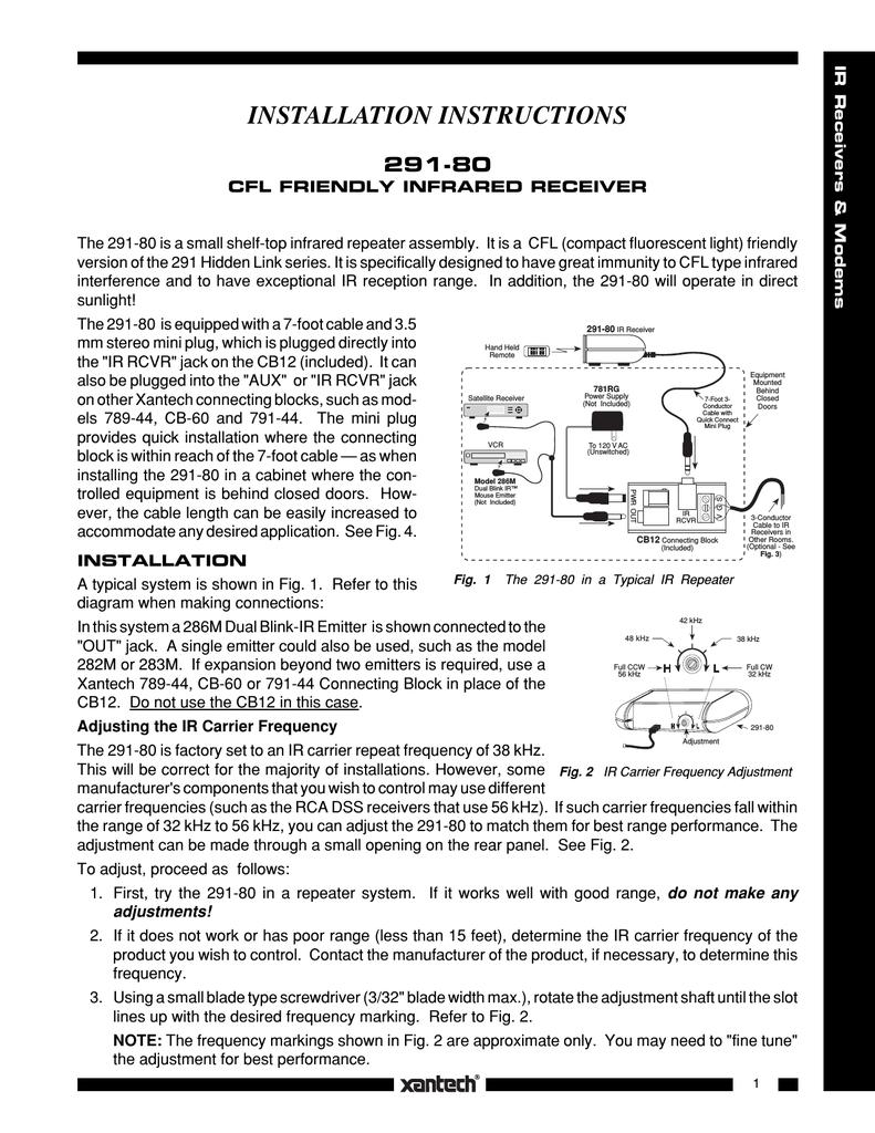Xantech 291-80 Stereo Receiver User Manual | manualzz.com on