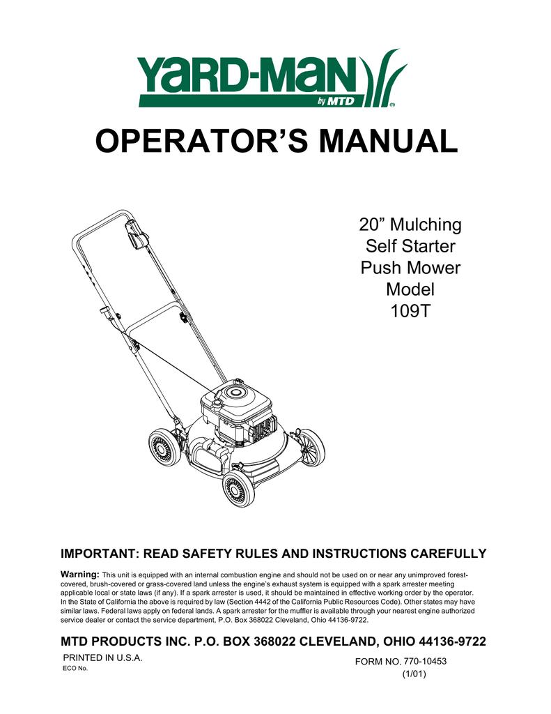 Used MTD Troybilt Yardman Walk Mower Rope Guide 710-1205 Wing Nut 720-0279