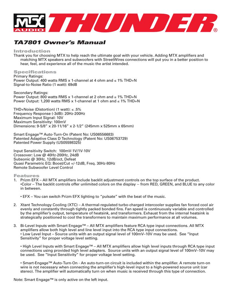 Mtx Thunder Ta7801 Subwoofer Mono Amp Car Audio Amplifier 3 Channel Wiring Diagram