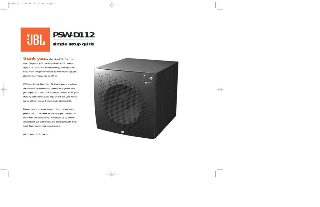 jbl psw d112 speaker manualzz com rh manualzz com JBL Powered Subwoofer JBL PSW D112 Manual