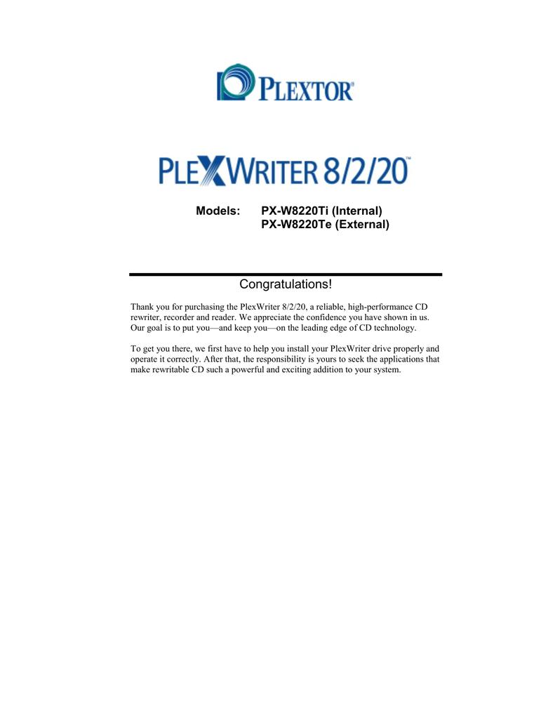 PLEXTOR PLEXWRITER 8220 DRIVERS