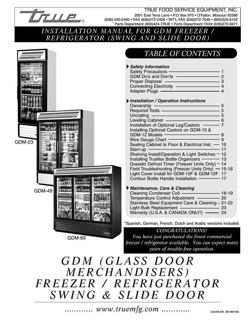 True GDM-49 Refrigerator | Manualzz | True Refrigerator Gdm 49 Wiring Diagram |  | manualzz