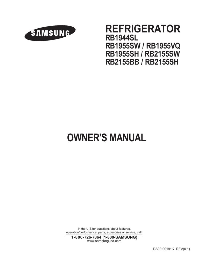 Samsung RB1955VQ Bottom Freezer Refrigerator | manualzz com
