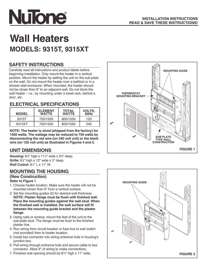 nutone wall heater wiring diagram 1550 wiring diagram user broan nutone n 9315xt wall heater heater manualzz com nutone wall heater wiring diagram 1550