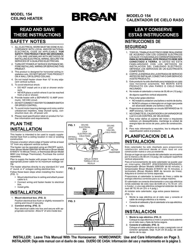 Broan-NuTone 154 Heater   Manualzzmanualzz