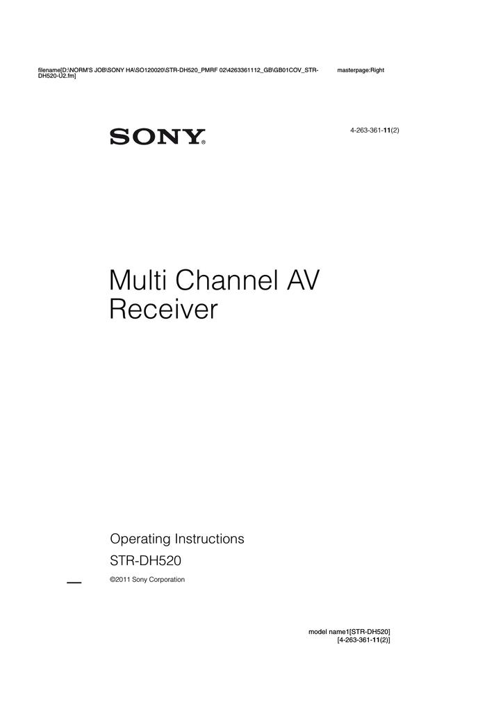 Sony STR-DH520 User manual | Manualzz