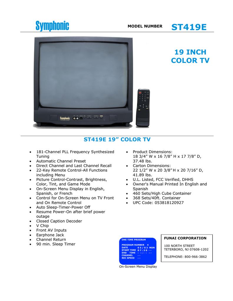 Symphonic ST419E TV | Manualzz