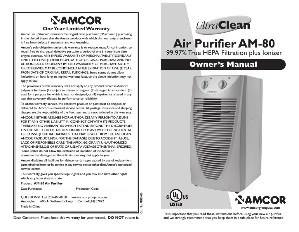 Amcor Air Purifier and Ionizer Black