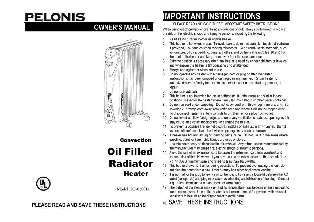 Pelonis Wm Ho202c Oil Filled Radiator Heater Oil Heater Manual Ho