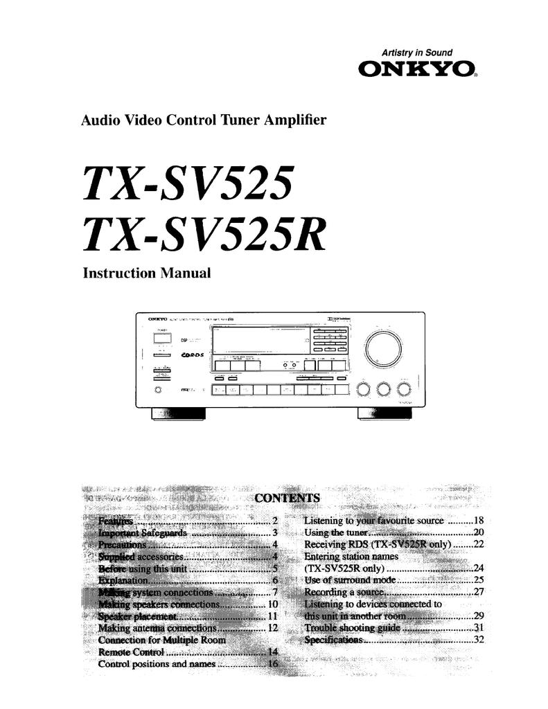 Onkyo TX-SV525 Receiver | manualzz com