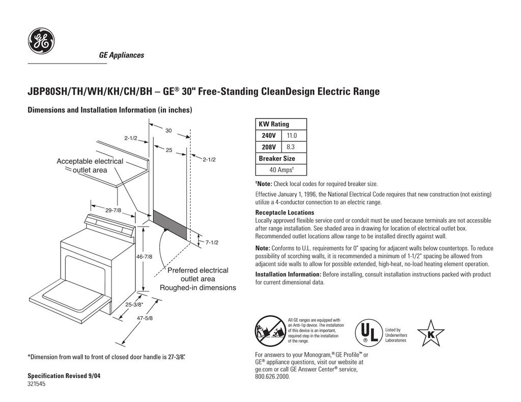 GE JBP80BHBB Electric Kitchen Range | manualzz.com