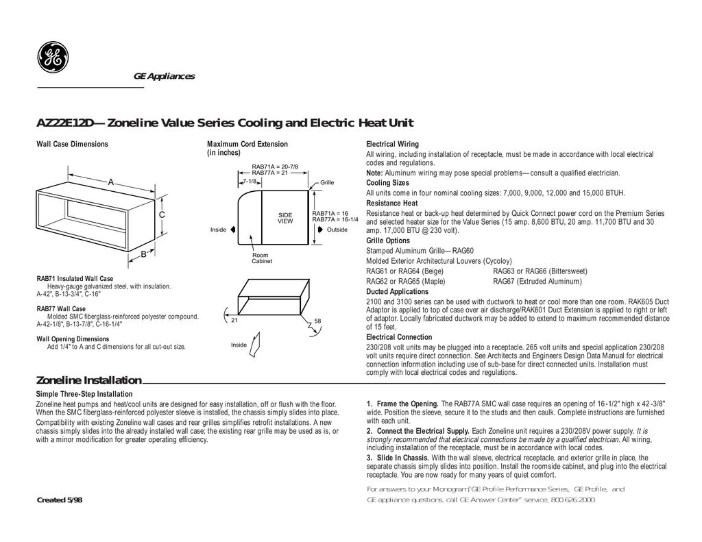 Ge Zoneline Az25e12d3b Air Conditioner Ptac Wiring Diagram