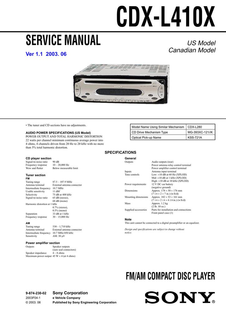 mp30 sony xplod cdx wiring diagram sony cdx l410x cd player manualzz  sony cdx l410x cd player manualzz