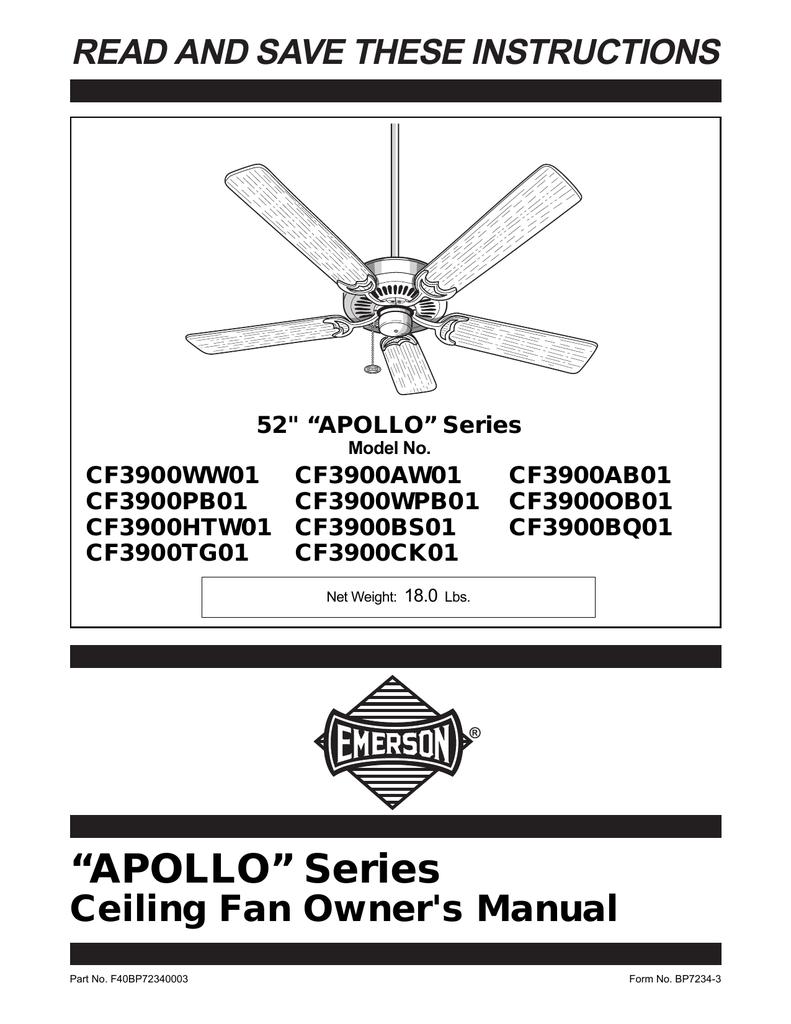 Emerson Apollo Ceiling Fan Ceiling Fan