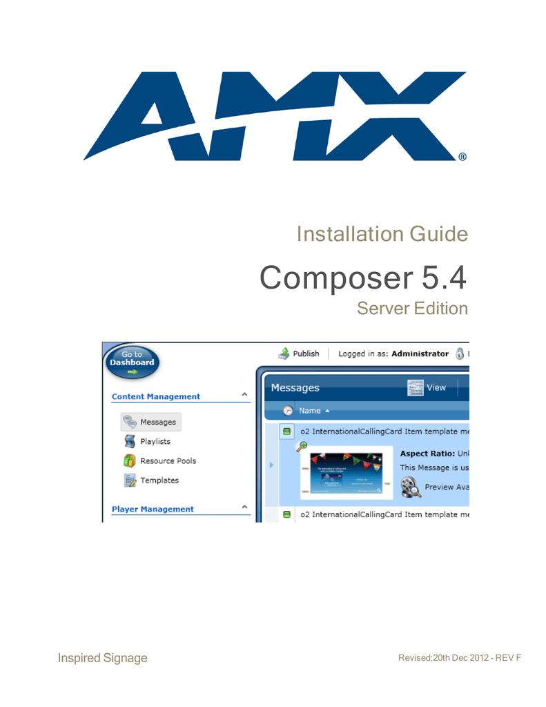 Composer 5 4 Server Installation Guide