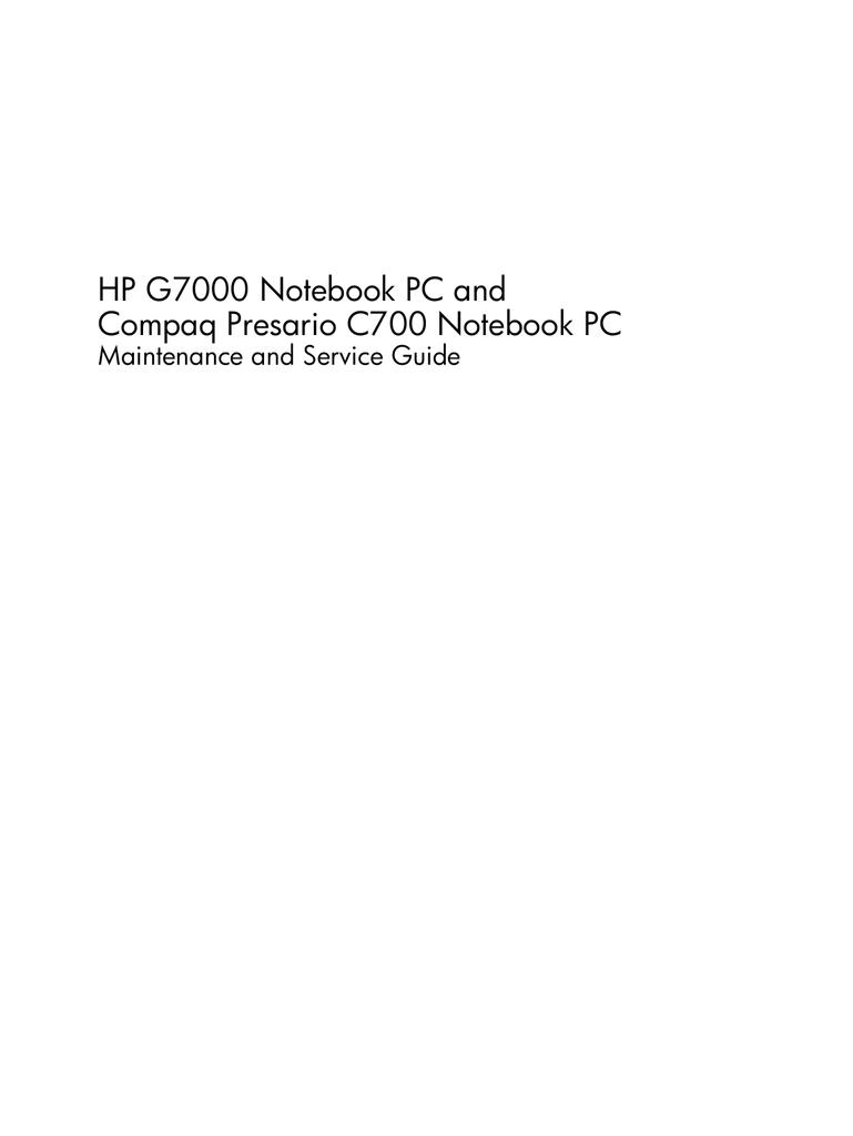 hp g7000 notebook pc and compaq presario c700 notebook pc manualzz com