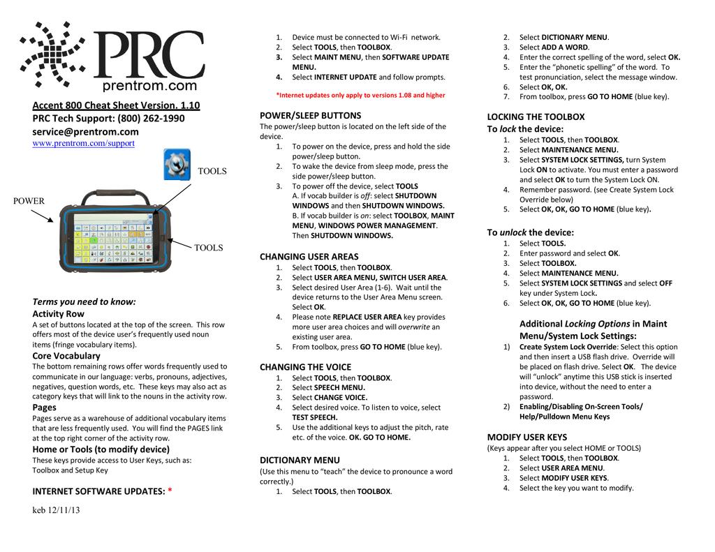 Accent 800 Cheat Sheet Version  1 10 PRC Tech Support: (800