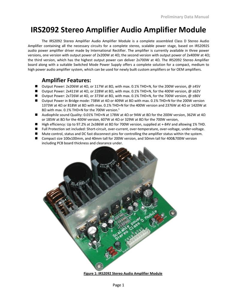 Irs2092 Stereo Amplifier Audio Module Figure 1 Schematic For A Btl Classd Power