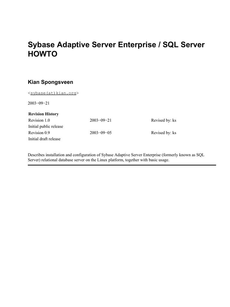 adaptive server enterprise 12.5.4