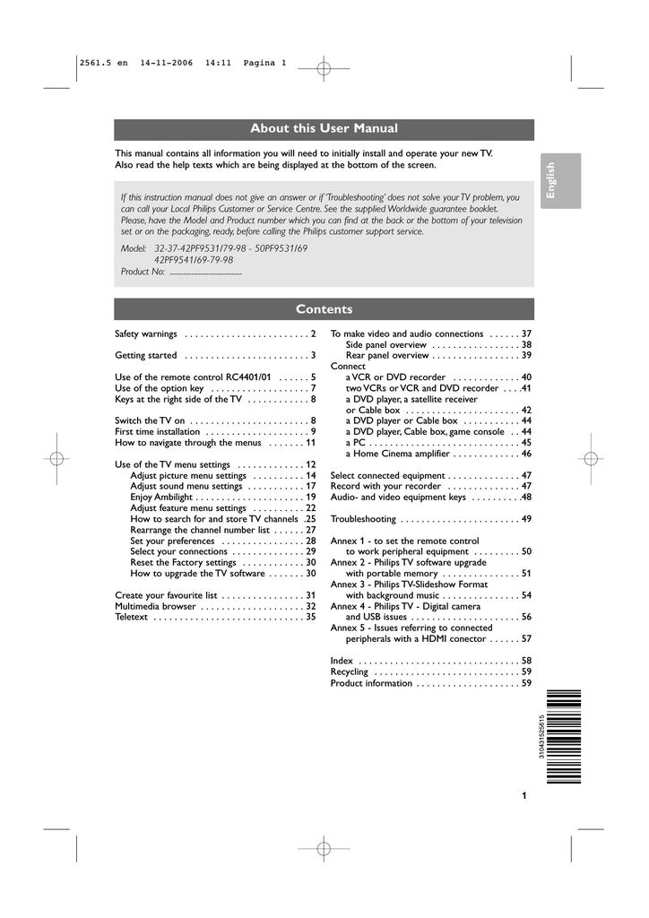 Philips 32PF9531/79 User manual | manualzz com