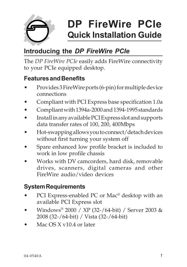 SIIG Dual Port FireWire Adapter NN-E20022-S1-3 x 6-pin IEEE 1394a FireWire