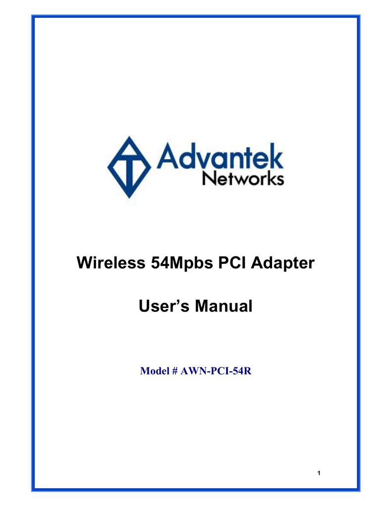 ADVANTEK AWN-PCI-54R WINDOWS VISTA DRIVER DOWNLOAD
