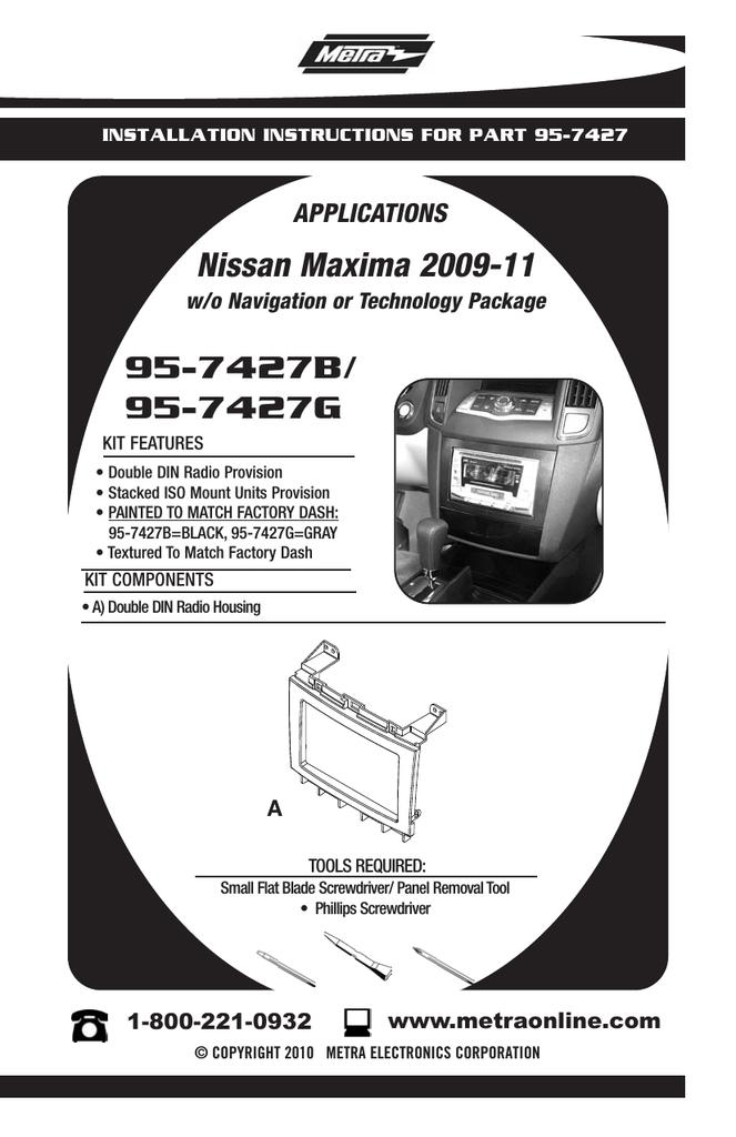 2009 nissan maxima radio dash kit