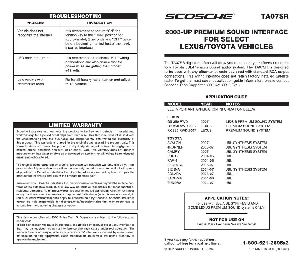 Scosche Ta07sr Wiring Harness 1999 Toyota Ta03hb Wire For Select 2004