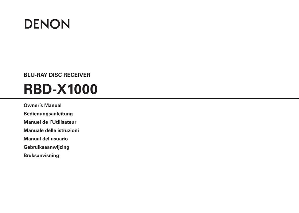 Denon RBD-X1000 AV receiver | manualzz com