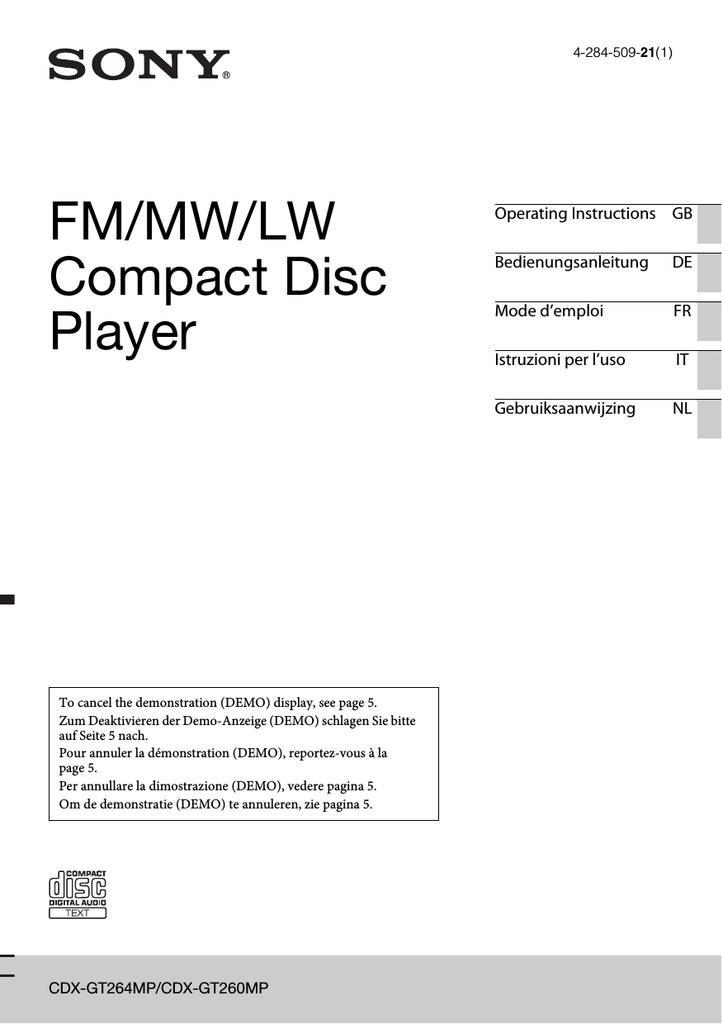 sony cdxgt260mp operating instructions  manualzz