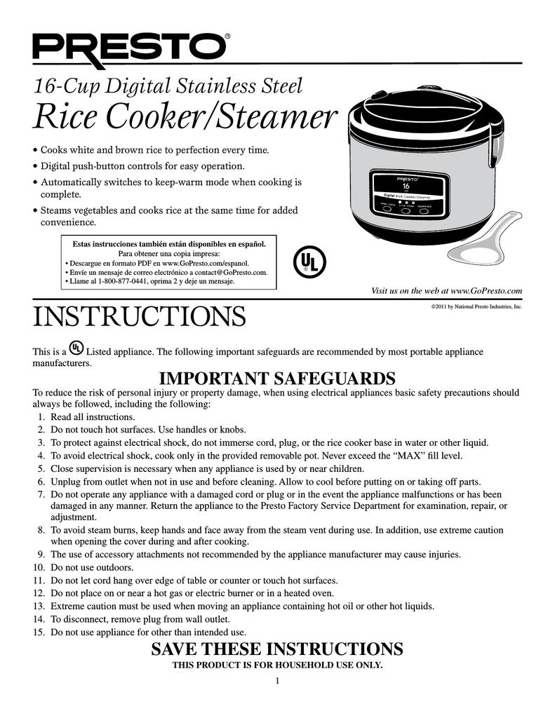 Presto 05813 16-Cup Digital Stainless Steel Rice Cooker//Steamer