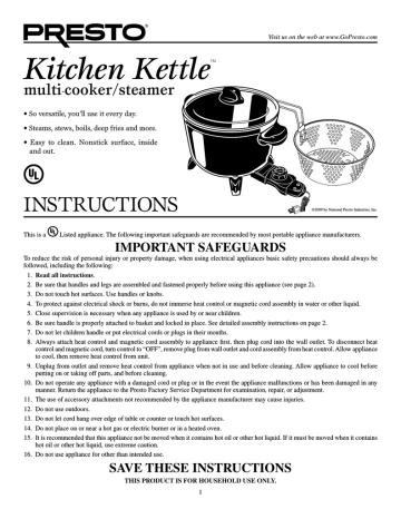 Presto 6006 Kitchen Kettle Multi Cooker Steamer Kitchen Kettle 06006 Options Multi Cooker Steamer User Manual Manualzz