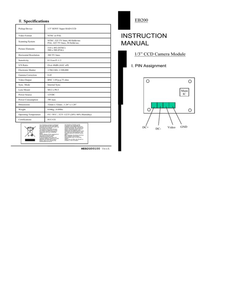 EverFocus EB200/N-3 Specification   ManualzzManualzz