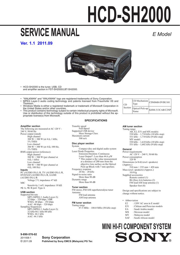 Sony HCD-SH2000 AV receiver   manualzz com
