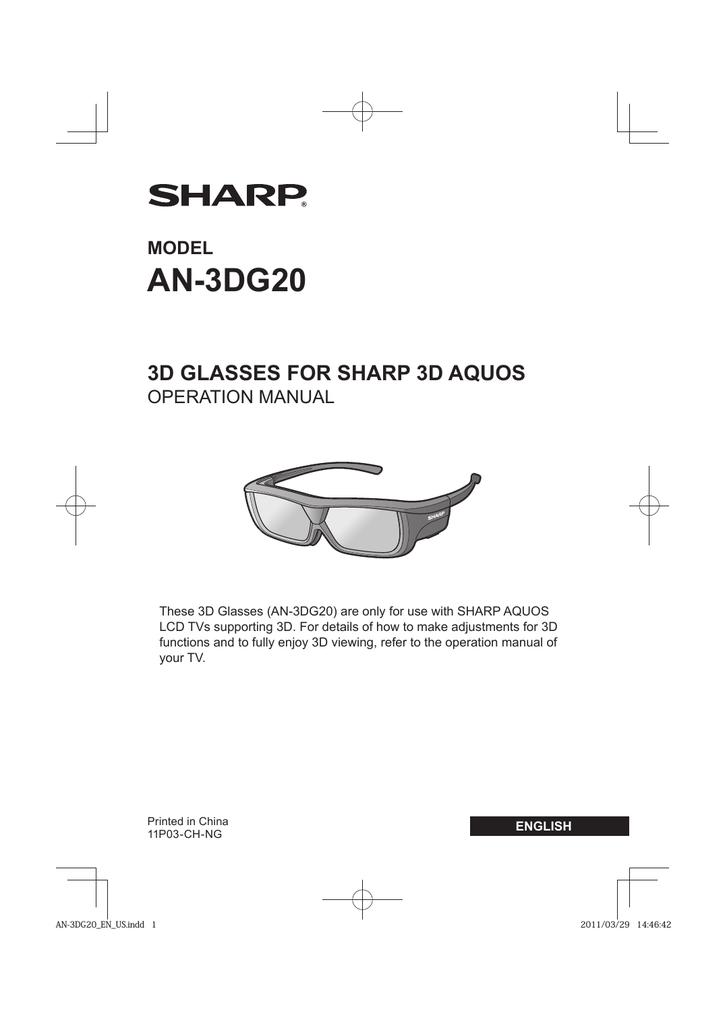 Sharp AN-3DG20-B stereoscopic 3D glasses | manualzz com