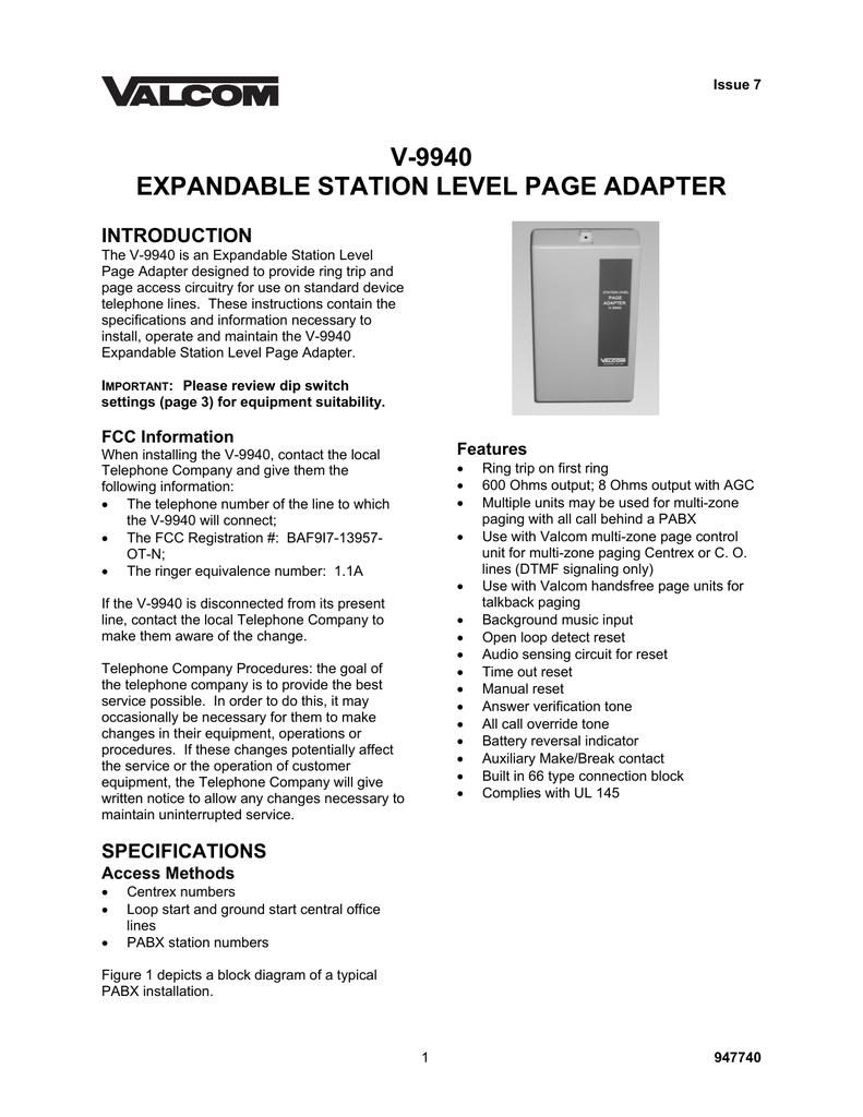 Valcom V-9940 door intercom system | manualzz.com