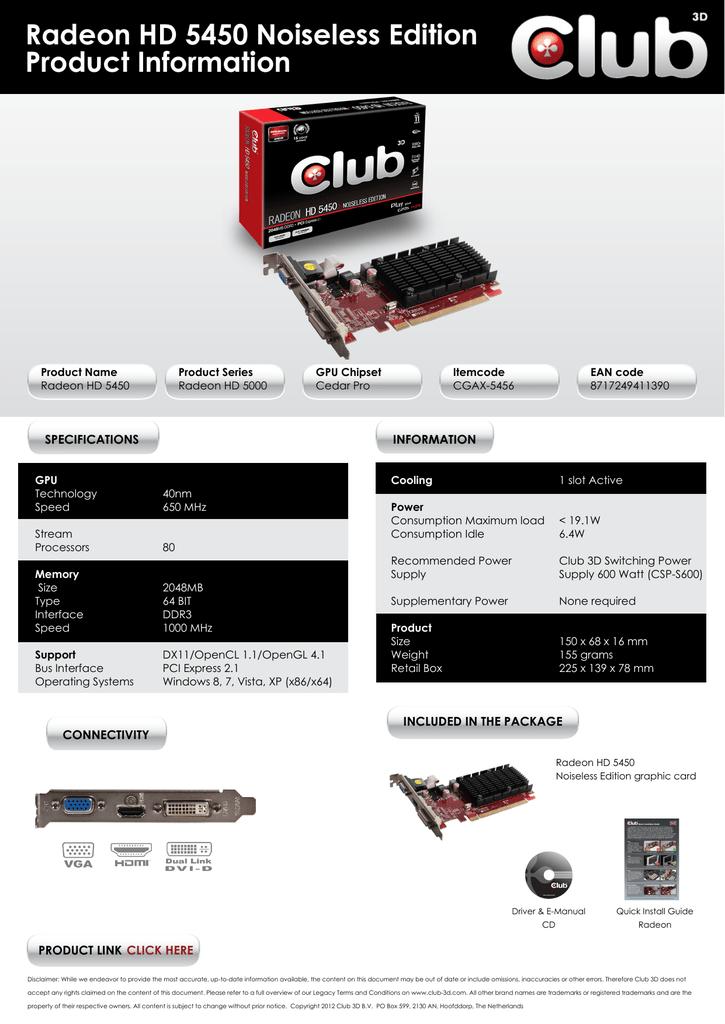 CLUB3D CGAX-5456 AMD Radeon HD5450 2GB graphics card | manualzz com