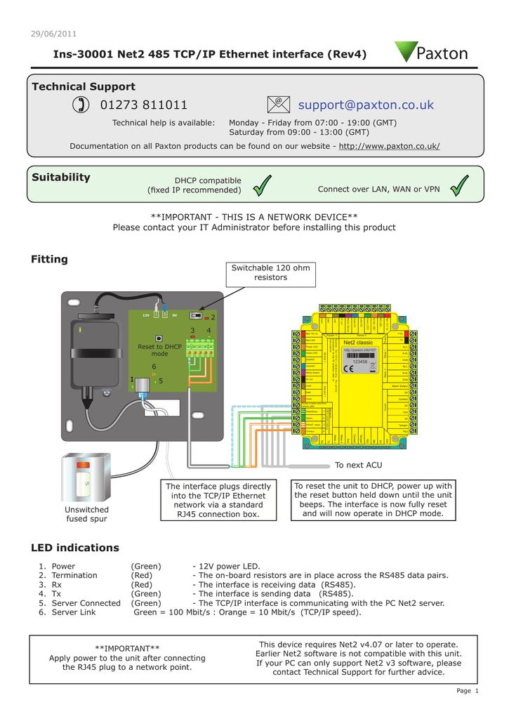 Paxton Net2 RS485 TCP/IP Ethernet | manualzz com