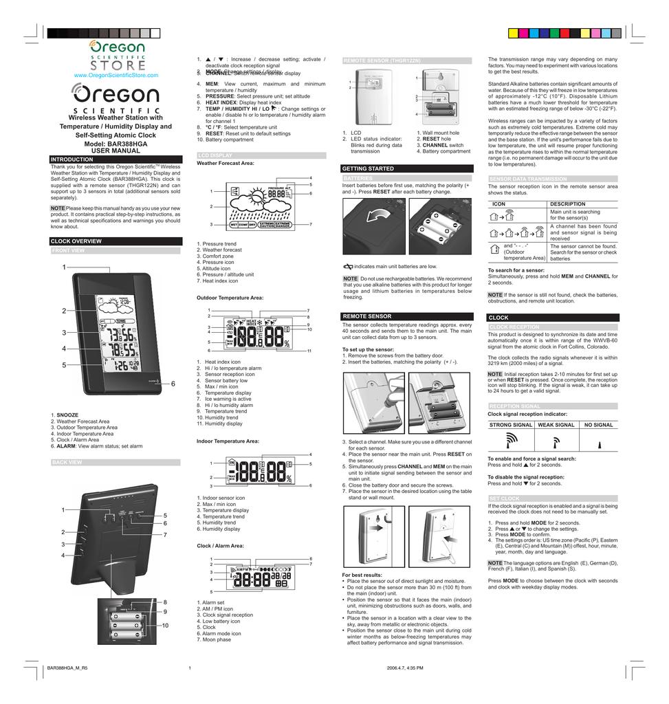 Oregon Scientific Bar388hga User Manual Manualzz