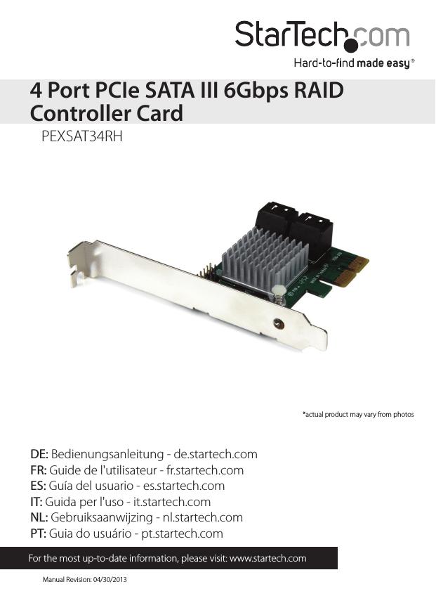 StarTech com 4 Port PCI Express 2 0 SATA III 6Gbps RAID