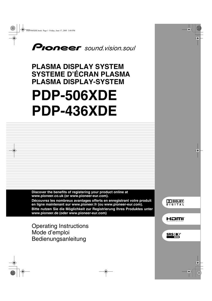 Pioneer PDP-436XDE plasma panel | manualzz.com