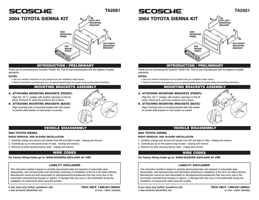 Scosche Ta2051b Car Kit Wiring Installation