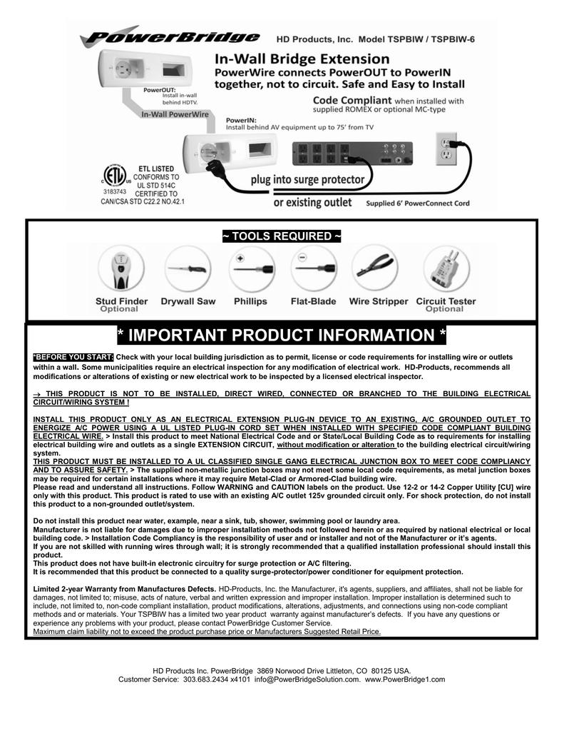 PowerBridge TSPBIW-6   manualzz.com