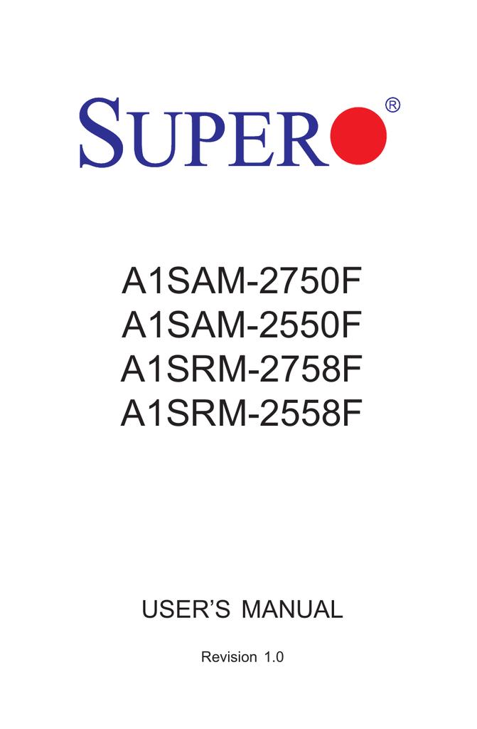 Supermicro A1SRM-2558F | manualzz com