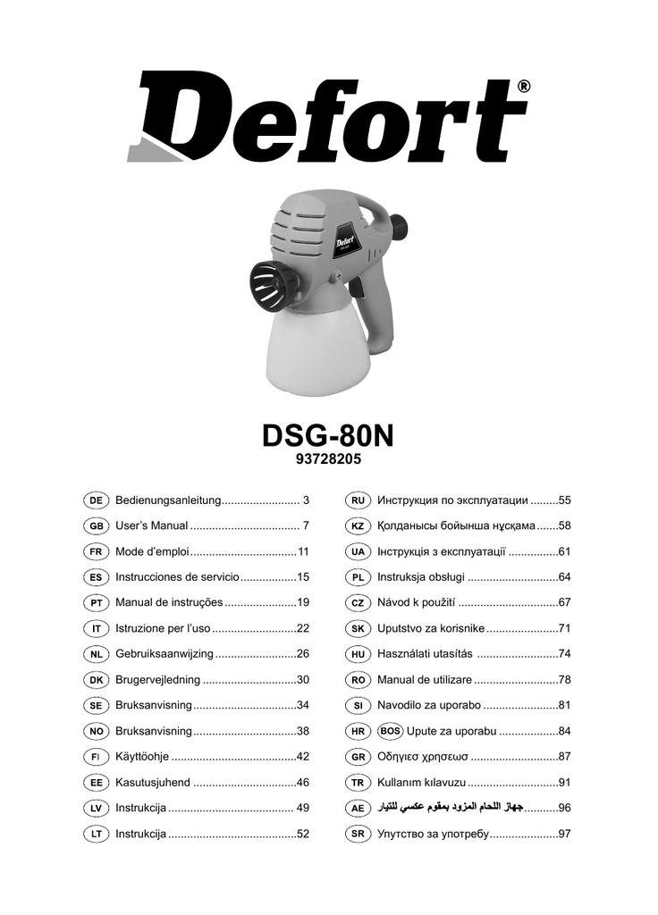 Defort Dsg 80n Manualzzcom